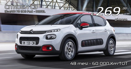 CITROEN C3 BlueHDI 75 S&S Feel - Diesel - 269,00 €/mese